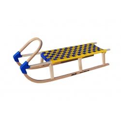 Sulov Lavina 125 cm s dřevěným madlem modrá / žlutá